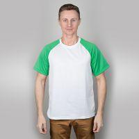 Футболка мужская, белая, сэндвич, хлопок и ПЭ, реглан, зеленый рукав, 44, S