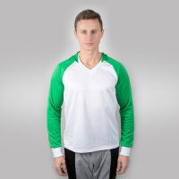 Футболка мужская с зелеными дл рукавами и капюшоном — 50 (XL)