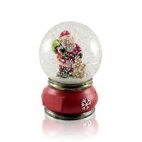 Шар водяной Дед Мороз с белкой с подсветкой с хлопьями снежинки 80x80x115мм D80